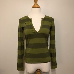 EUC- Lucy Green Striped V- Neck Knit Top- Size Med
